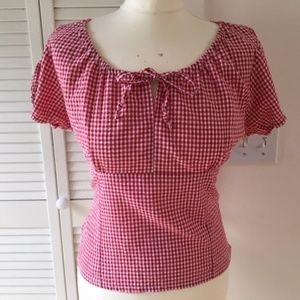 Vivien of Holloway red gingham Rio top